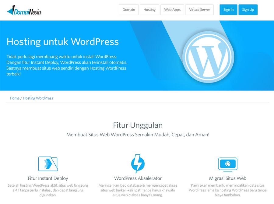 Domainesia - Menyediakan layanan WordPress hosting