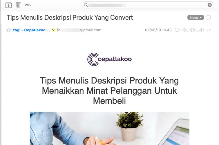 Contoh penggunaan judul email newsletter