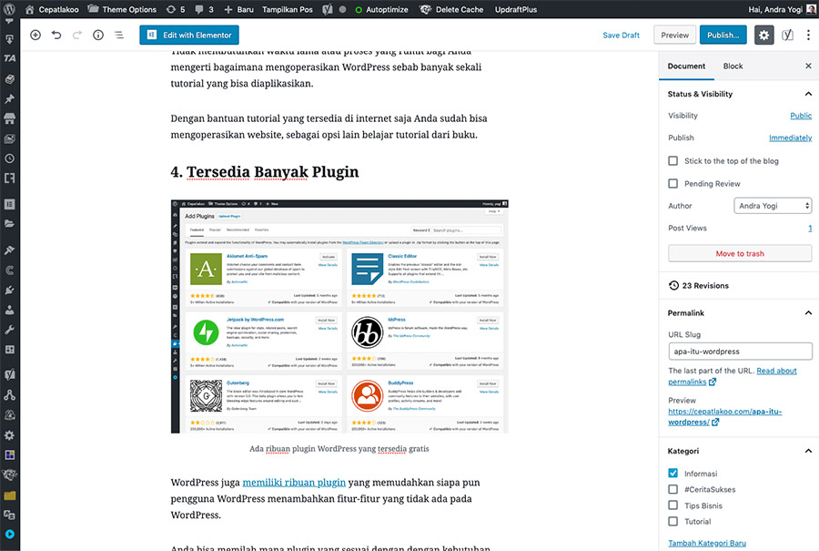 Menulis artikel di WordPress sangat mudah sekali