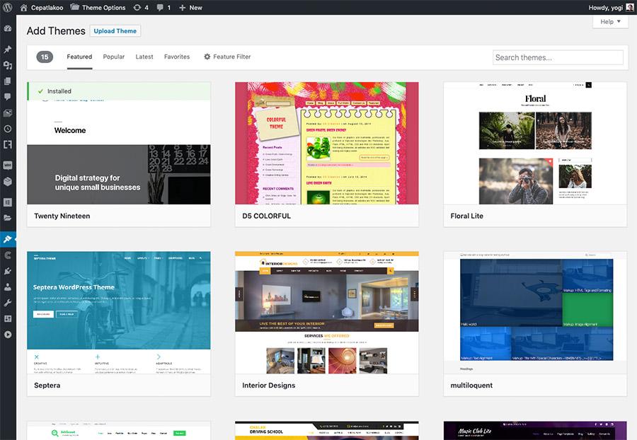 Anda bisa memilih theme yang Anda suka langsung dari dashboard WordPress
