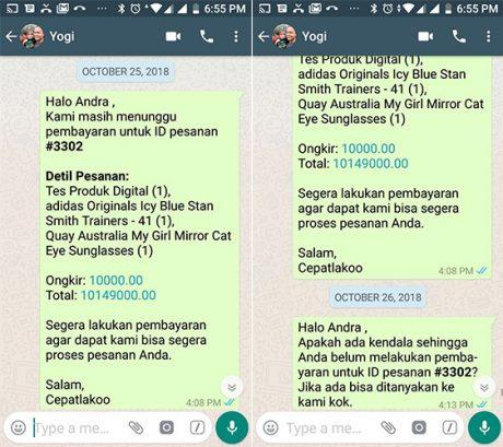 Fitur notifikasi via WhatsApp